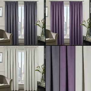 Berlin Blackout Thermal Tape Top Woven Textured Curtains - Bedroom & Livingroom