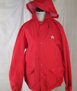 Texaco Gas Station VTG Howe Athletic Apparel Red Hooded Button Up Jacket Men's M
