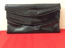 Cara Black Patent Leather Handbag Bag Clutch Double Flap Snap Closure 2 Zips(p4)