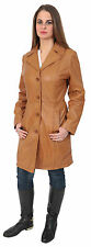 Knee Length Leather Button Outdoor Coats & Jackets for Women