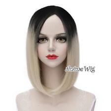 Lolita Black Mixed Light Blonde Medium 40CM Hair Women Anime Cosplay Wig + Cap