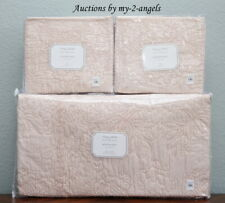 Pottery Barn Monique Lhuillier Blossom Emb. King Quilt + Shams Shell Pink Blush