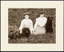 FLAT COATED RETRIEVER EDWARDIAN LADIES AND DOGS DOG PRINT MOUNTED READY TO FRAME