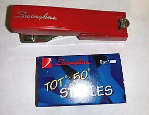 Collectibles,Stapler,Vintage,Swingline,Tot 50,Mini,Red,USA, W/ Staples