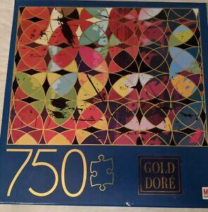 "Gold Dore Circles Strokes 750 Piece Jigsaw Puzzle Milton Bradley NEW 27""x20"""