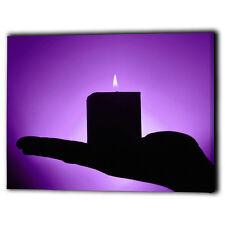 Purple Mood Setting Candle Fire Flame Canvas Framed Panel - Zen Wall Art Prints