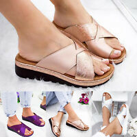 Women Platform Toe Ring Slippers Sandals Wedge Flip Flops Shoes Bunion Corrector
