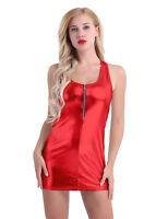 Sexy Women Shiny Leather Bodycon Party Slim Mini Dress Skirt Rave Dance Clubwear