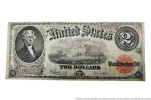 Series 1917 Large Size $2 Two Dollar U.S. United States Note Red Seal Currency