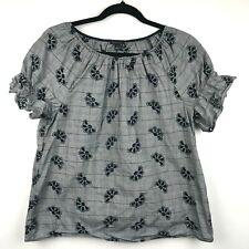 Ann Taylor Loft Women's Size M 100% Cotton Gray Floral Short Sleeve Blouse