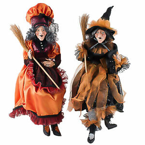 "22.5"" Set/2 Sitting Witch Dolls Black Orange Halloween Figurine Classic Decor"