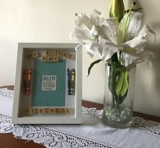 Personlised My First Day at School Scrabble Letter Frame gift with crayons