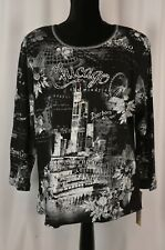 New Cactus Women's Pullover Blouse Top Size 1X Chicago Skyline 3/4 Sleeve Fun