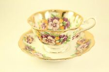 Royal Albert Bone China Purple Yellow Pansy Flower Gold Tea-Cup Saucer Plate Set