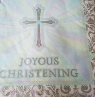 16x Joyous Christening Party Themed Paper Napkins ~ 33cm x 33cm / 3ply.