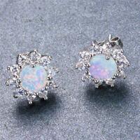 Exquisite 925 Silver White Fire Opal CZ Ear Stud Earrings Womens Wedding Jewelry