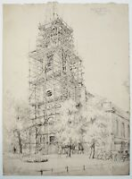 Hubert John Williams (1905-1989) Fine pencil drawing. Church and scaffolding.