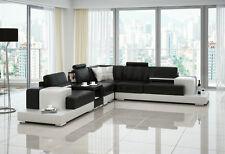 Modern Large LEATHER SOFA Corner Suite NEW RRP £5999 Black