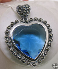 Large Sterling Silver Marcasite Framed BRILLIANT Blue Topaz Heart Pendant Chain