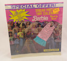 SNEAK PREVIEW BARBIE 1991 CALENDAR ~Vintage Mattel + COSTUME/OUTFIT 15-Month~NEW