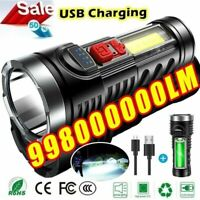 Tactical 4 Modes LED COB Flashlight USB Rechargeable Torch Lamp Super Bright