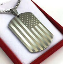 New listing Laser Engraved Usa American Flag Dog Tag Necklace Steel Pendant 1001