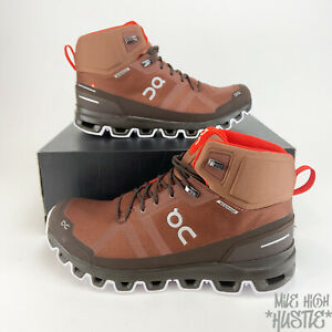 On Cloud Cloudrock Men's Size 10 Brown Red Mid Waterproof Hiking Boots