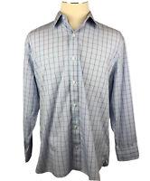 Bonobos Mens 17 1/2 35 Long Sleeve Button Down Dress Shirt Plaid Blue Cotton