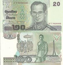Thailand 20 Baht Banknote World Paper Money Unc Currency p109 2003 Bill Note