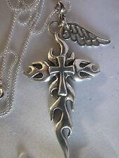 "Gothic Kreuz & Engel Flügel in Sterling Silber Kette 26"""