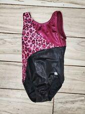Snowflake Child Medium CM Gymnastics Leotard Pink Cheetah Leopard Shiny MYSTIQUE