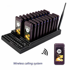 Restaurant Cafe Wireless Calling Paging System with 20 Pager Keypad Call Button