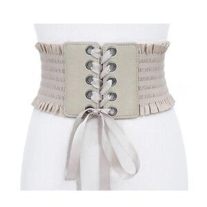 Women Wide Buckle Corset Dress Belt Elastic Stretch Lace Up Tassels Waistbands
