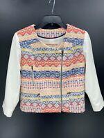 Cartonnier Anthropologie Womens 6 Jacket White Aztec Tribal Print Moto Cross Zip