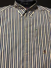Tommy hilfiger Men Button Up Shirt Sz.L-Cotton/Striped-Blue,yellow,wht-L Sleeve