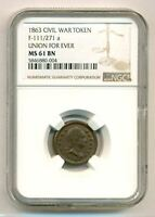 Civil War Patriotic Token 1863 Union For Ever F-111/271a R3 MS61 BN NGC