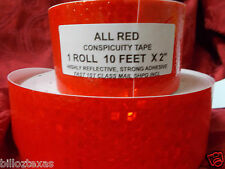 RED CONSPICUITY TAPE 10' ROLL *all red* SAFETY TAPE HIGHLY REFLECTIVE FREE SHIP