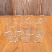 7 Green Flower Pattern Glass Tumblers Water Glass Cups