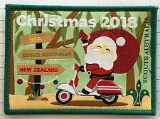 2018 Christmas Scout Badge, Santa on motorbike delivering gifts Scouts Australia