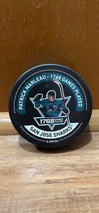NHL PATRICK MARLEAU RECORD BREAKING 1768 GAMES PLAYED WARM-UP PUCK SJ SHARKS