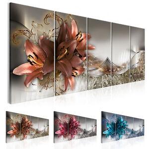 ABSTRAKT BLUMEN LILIEN Wandbilder xxl Bilder Vlies Leinwand b-C-0182-b-n