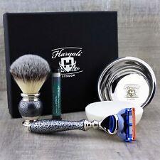 Conjunto De Afeitar Negro Badger Cepillo & Gillette Fusion Y Jabón Tazón Para Hombre Grooming Kit
