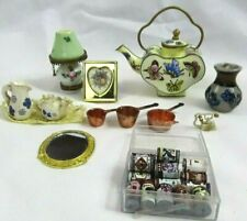Vintage Miniature Teapot Dollhouse Lamp Vase Picture Frame Cans Mirror phone Lot