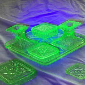 Vintage Uranium Glass Dressing Table Set Art Deco Star David 10 pieces, Used GC