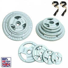 TRI-GRIP Cast Iron Disc Weight Plates EZ Bar Curl Barbell Weights Fitness Gym