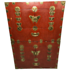 More details for pair late qing chinese dowry marriage brass bound red lacquer chest cabinets