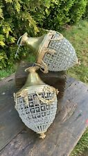 A Beautiful Pair Of Brass & Glass Ceiling Chandler Lights *