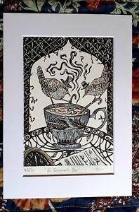 Fairytale art nouveau wren Lino print, Original entitled 'The Gentlemens' Tea.'