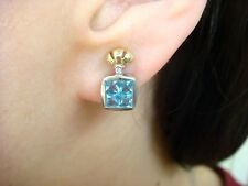 14K 2 TONE GOLD EARRINGS WITH SMALL DIAMOND AND PRINCESS CUT TOPAZ, 4 GRAMS