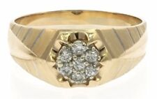 Men's Genuine Diamond Ring in 14 Kt Yellow Gold